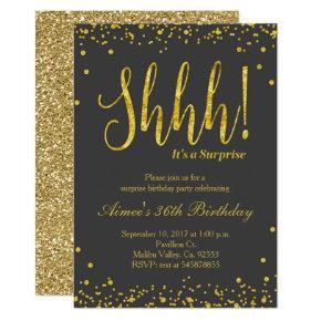 Surprise Birthday Party Invitation Black Gold