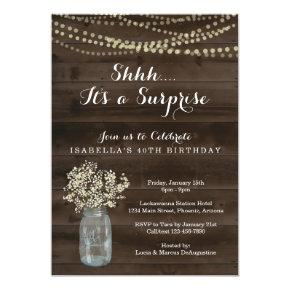Surprise Birthday Party Invitations - Rustic Wood