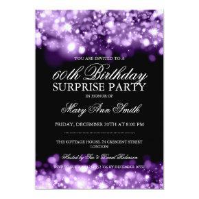 Surprise Birthday Party Purple Sparkling Lights Invitation