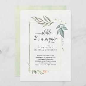 Surprise Birthday Party Watercolor Floral Invitation
