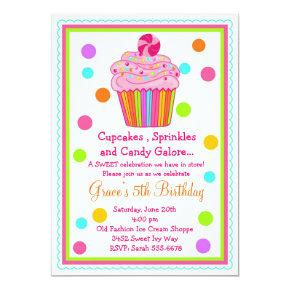Surprise Candy Cupcake Birthday Invitations
