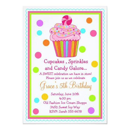 Surprise Candy Cupcake Birthday Invitation – Candied Clouds