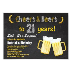 Surprise Cheers and Beers 21st Birthday Invitations