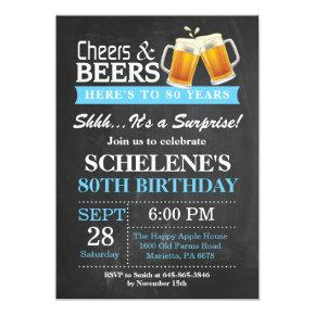 Surprise Cheers and Beers 80th Birthday Invitations