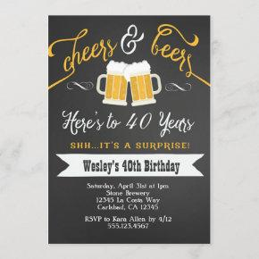 Surprise Cheers & Beers 40th Birthday Invitation