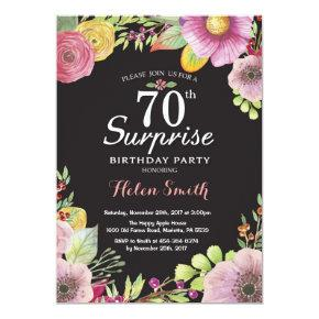 Surprise Floral 70th Birthday Invitations for Women