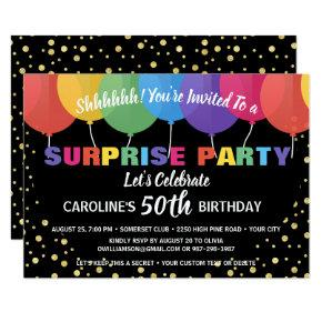 Surprise Party Birthday Invitation Fun Balloons