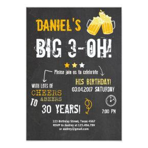 Surprise Party Cheers and beers birthday 30th Men Invitations