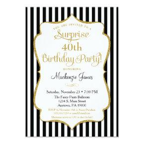 Surprise Party Invitations Black Gold Elegant Adult