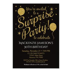 Surprise Party Invitations Gold Balloon Birthday