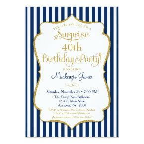 Surprise Party Invitation Navy Blue Gold Elegant