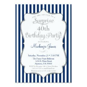 Surprise Party Invitation Navy Blue Silver Elegant