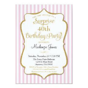 Surprise Party Invitation Pink Gold Elegant