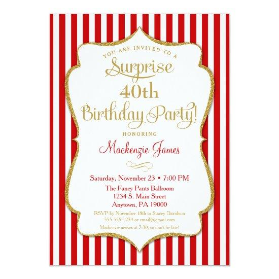 Surprise Party Invitations Red Gold Elegant Adult Candied Clouds
