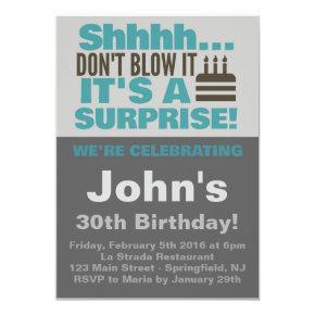 Surprise Party Invite Blue