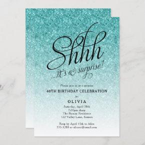 Surprise Party Shhh, Blue Glitter Ombre Invitation