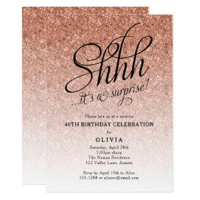 Surprise Party Shhh, Rose Gold Glitter Ombre Invitation