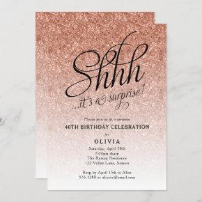 Surprise Party Shhh, Rose Gold Glitter Ombre Invitation