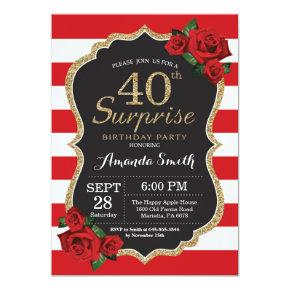 Surprise Red Rose 40th Birthday Invitations Gold
