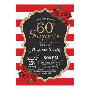 Surprise Red Rose 60th Birthday Invitation Gold