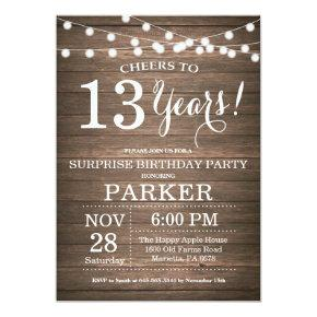 Surprise Rustic 13th Birthday Invitation Wood