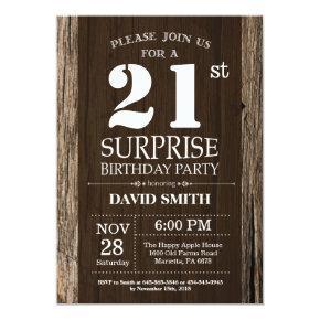 Surprise Rustic 21st Birthday Invitation Vintage