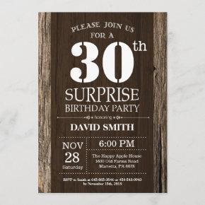 Surprise Rustic 30th Birthday Invitation Vintage
