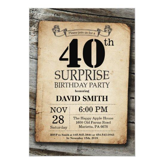 Surprise Rustic 40th Birthday Invitation Vintage Candied Clouds