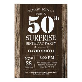 Surprise Rustic 50th Birthday Invitation Vintage