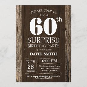Surprise Rustic 60th Birthday Invitation Vintage