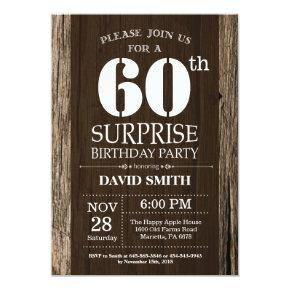 Surprise Rustic 60th Birthday Invitation Vintage