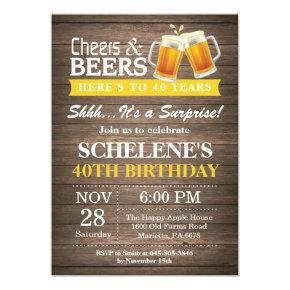 Surprise Rustic Cheers and Beers 40th Birthday Invitation