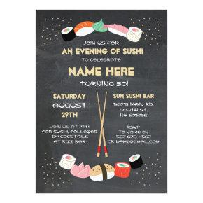 Sushi Dinner Japanese Birthday Party Bar Invite