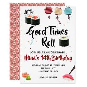 Sushi Party Invite, Birthday Invitation