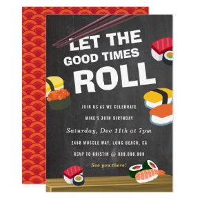 Sushi Roll Birthday Celebration Invitations