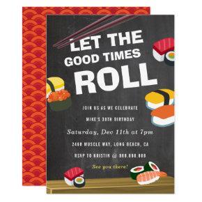 Sushi Roll Birthday Celebration invitation