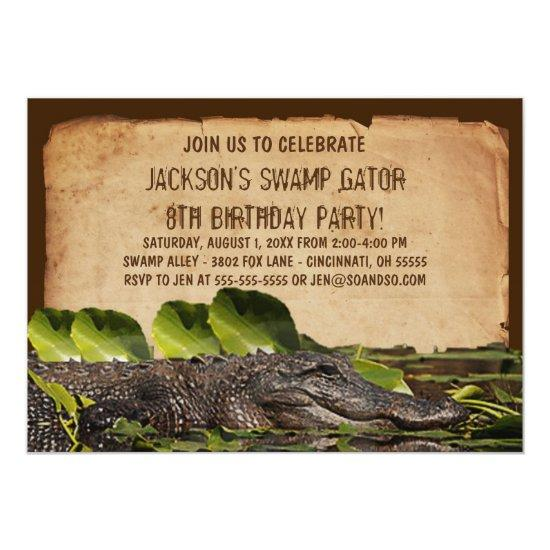 Swamp Alligator Custom Birthday Party Invitations Candied Clouds
