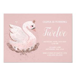 Swan 1st Birthday | Dusty Rose and Rose Gold Invitation
