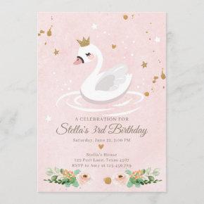 Swan Birthday Invitation Girl Princess Pink Gold