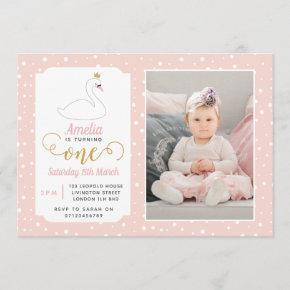 Swan Lake Girls 1st Birthday Invitation