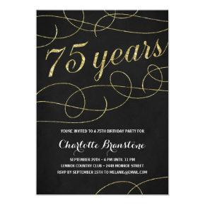 Swanky Faux Gold Foil 75th Birthday Party Invitation