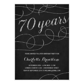Swanky Silver 70th Birthday Party Invitations