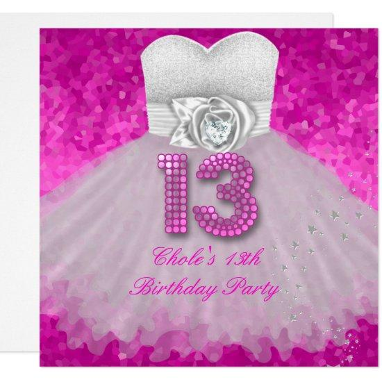 Sweet 13 13th birthday party girls hot pink invitations candied clouds sweet 13 13th birthday party girls hot pink invitations filmwisefo
