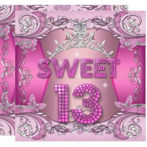 Sweet 13 13th Birthday Party Pink Silver Tiara Invitations