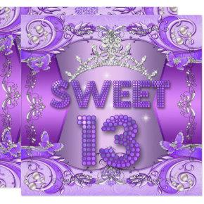 Sweet 13 13th Birthday Party Purple Silver Tiara Invitation
