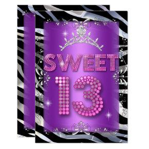 Sweet 13th pink purple birthday invitations candied clouds sweet 13 13th birthday pink purple zebra invitations filmwisefo