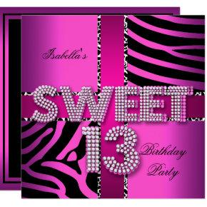 Sweet 13 13th Birthday Zebra Cow Pink Black Invitations