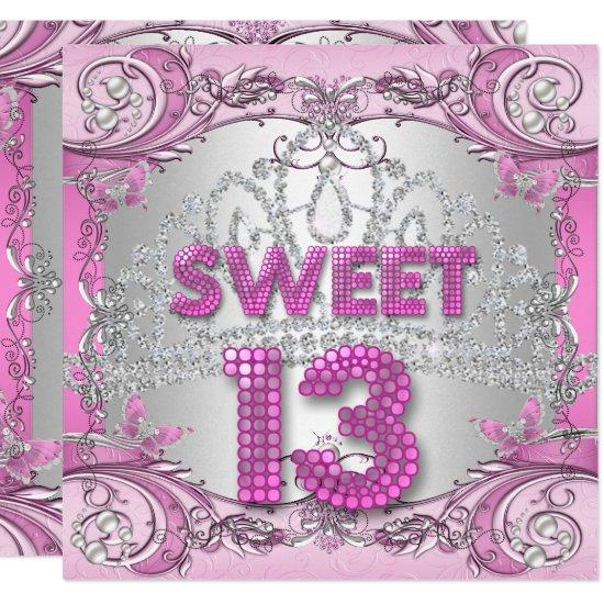 Sweet 13 13th pink silver tiara birthday party 2 invitations sweet 13 13th pink silver tiara birthday party 2 invitations filmwisefo