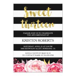 Sweet 13 Birthday Floral Gold Black White Stripes Invitation
