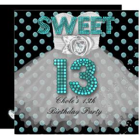 Sweet 13th Birthday Party Girls 13 Teen Teal Blue Invitations